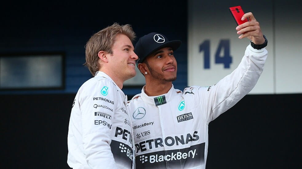 Hamilton and Rosberg taking a selfie together