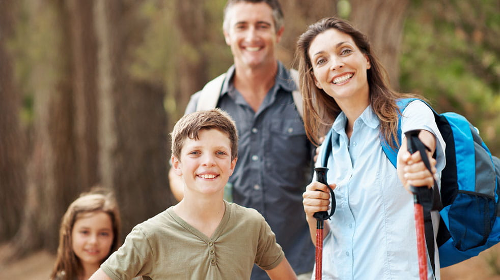 Family health and fitness Nordic walking