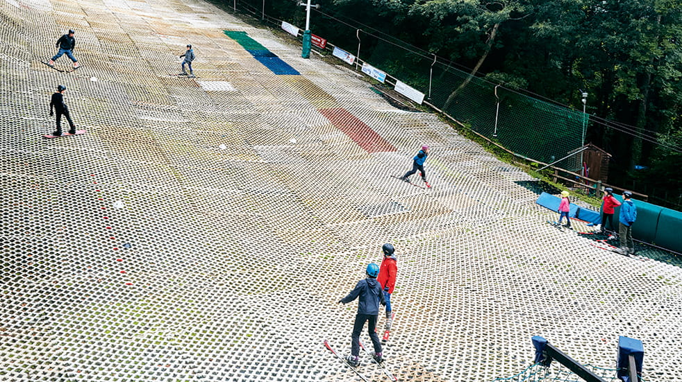 Learn to ski as a family: dry ski slope lessons