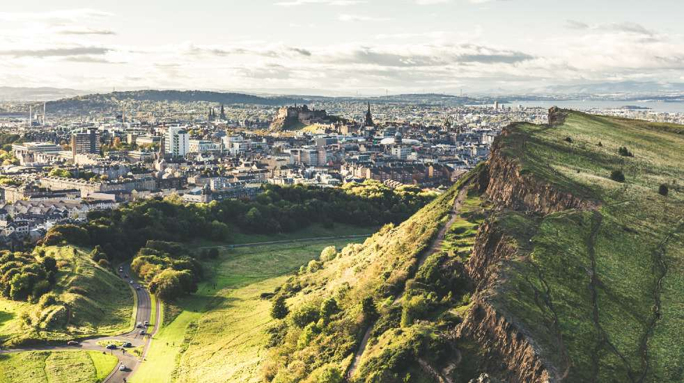 Free events in March aerial view of Edinburgh