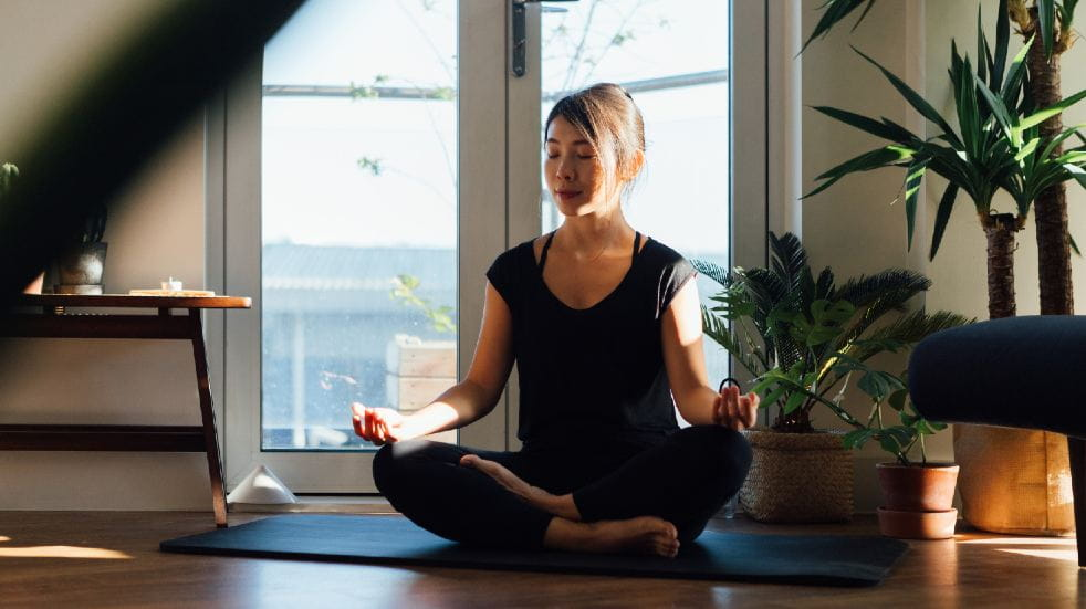 Free events March woman meditating