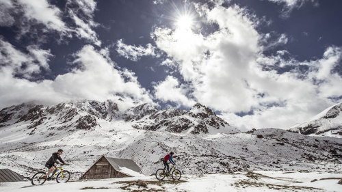 Mountain biking at the Galibier