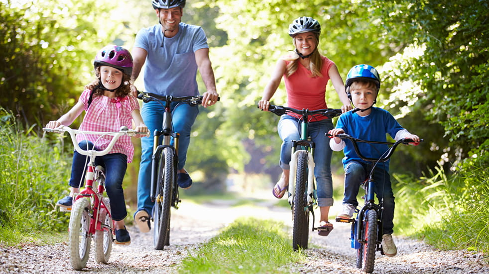 Get fit as a family - kids and adults riding bikes