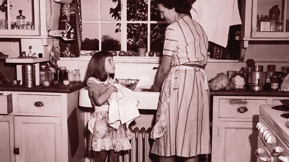 Grandmas know best mother and child washing up