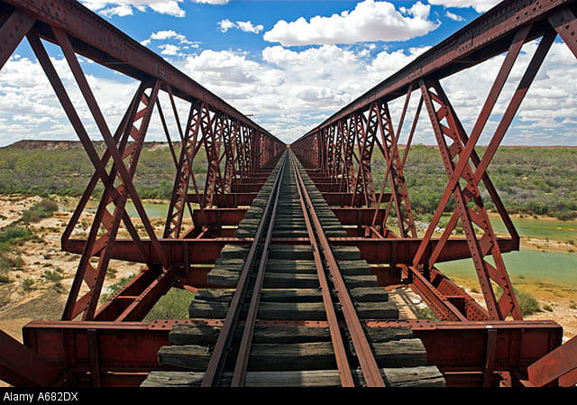 Crossing a bridge in the wilderness on the Darwin to Adelaide route across Australia