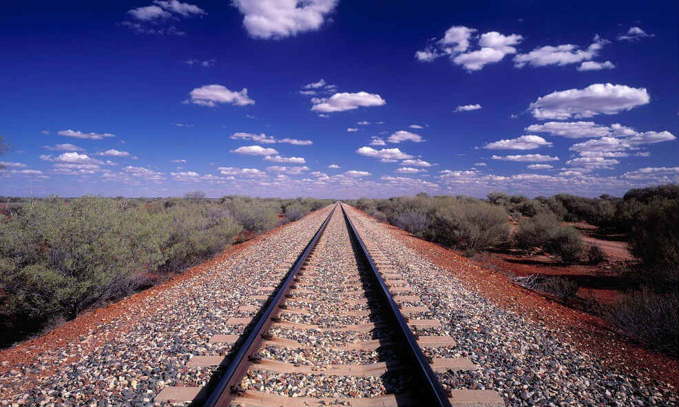 Railway in desert of South Australia