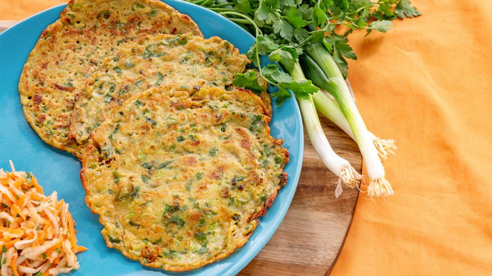 Spicy spring onion and herb pancakes