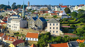 View over St Pater Port, capital of Guernsey