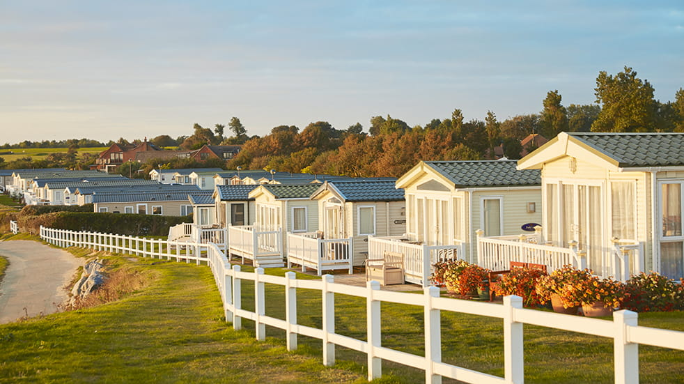 Haven holiday parks: beach view of caravans