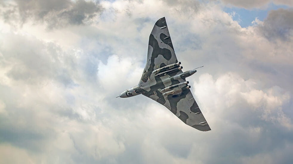 The Avro Vulcan aircraft in the sky