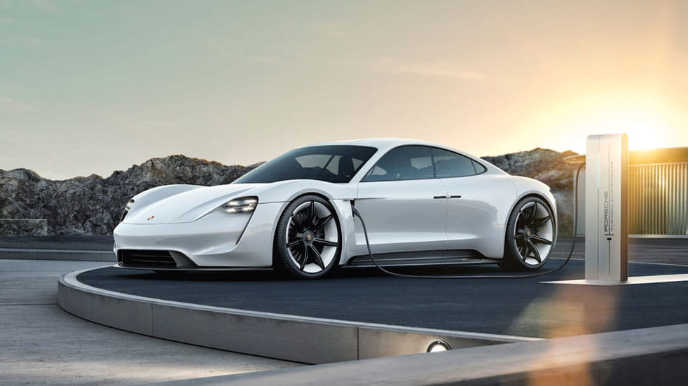 The upcoming Porsche Taycan all-electric saloon