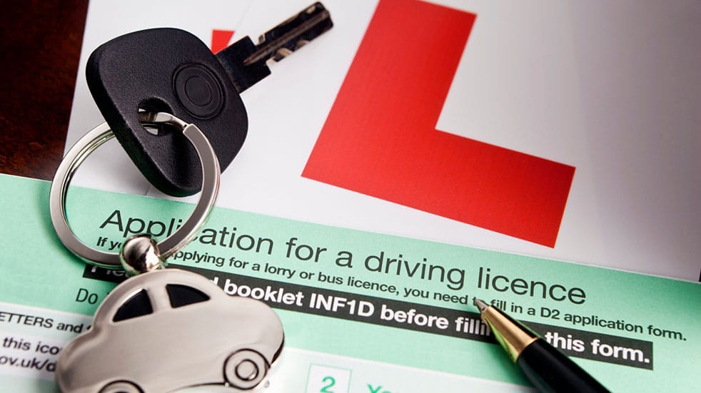 Learn to drive: L plates, car keys and application for a driving licence