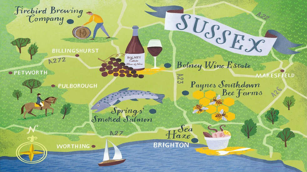 Local food and drink Sussex, Ghyll Manor: food map