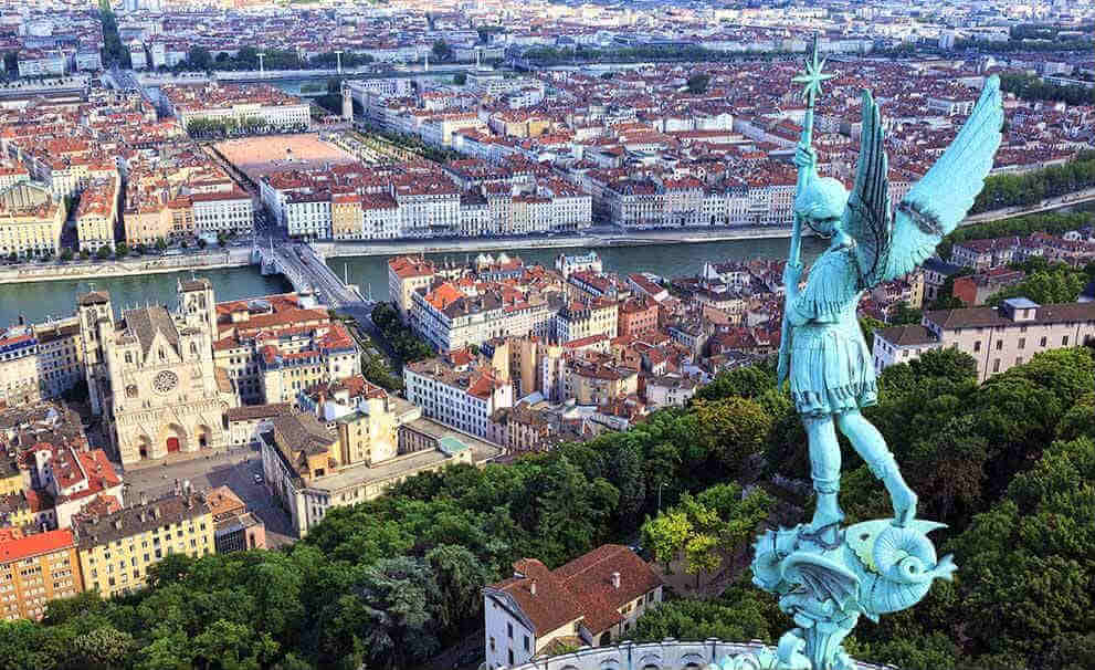 View over the centre of Lyon, France's second city