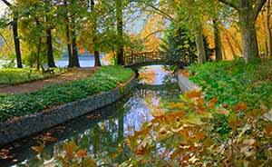 Riverside scene in autumn in Lyon's Parc Tete d'Or