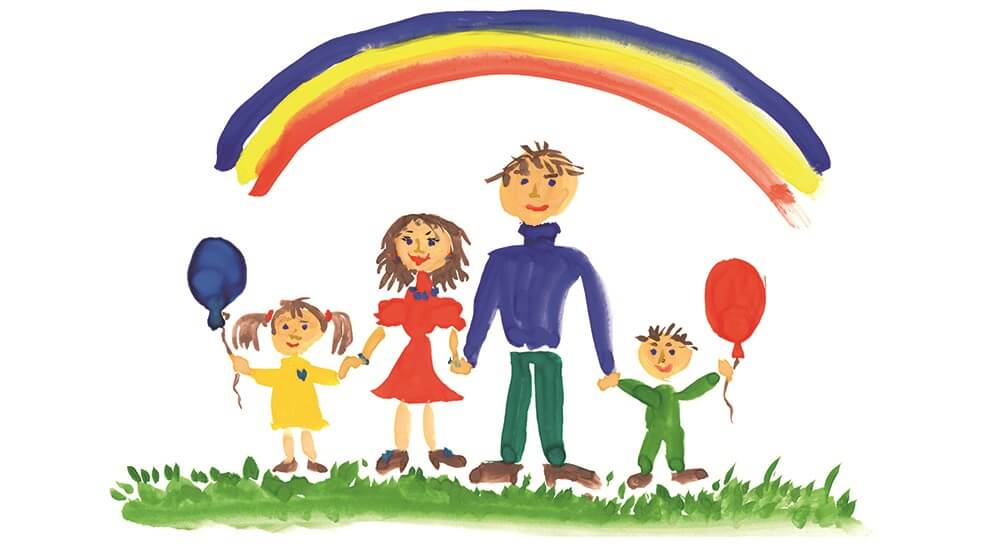 Childs drawing of a family standing under a rainbow