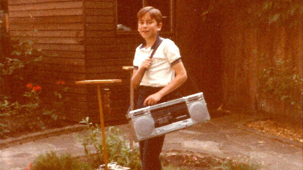 Simon Reeve as a child in his home garden