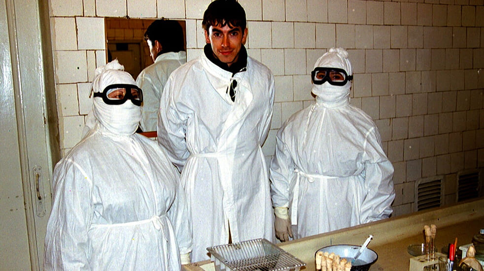 Simon Reeve with researchers from the Kazakhstan plague research institute who work with deadly biological agents