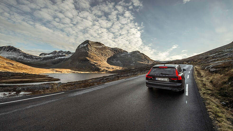 A car driving the Trollstigen Road in Norway