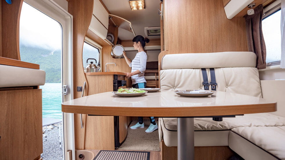 Plan your first motorhome holiday; interior of motorhome