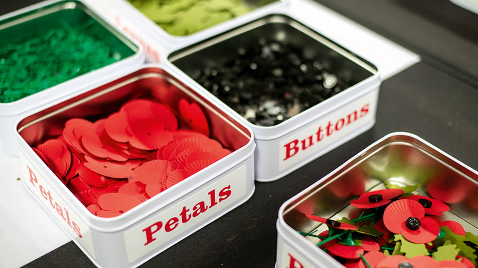 Petals and buttons used to make remembrance poppies