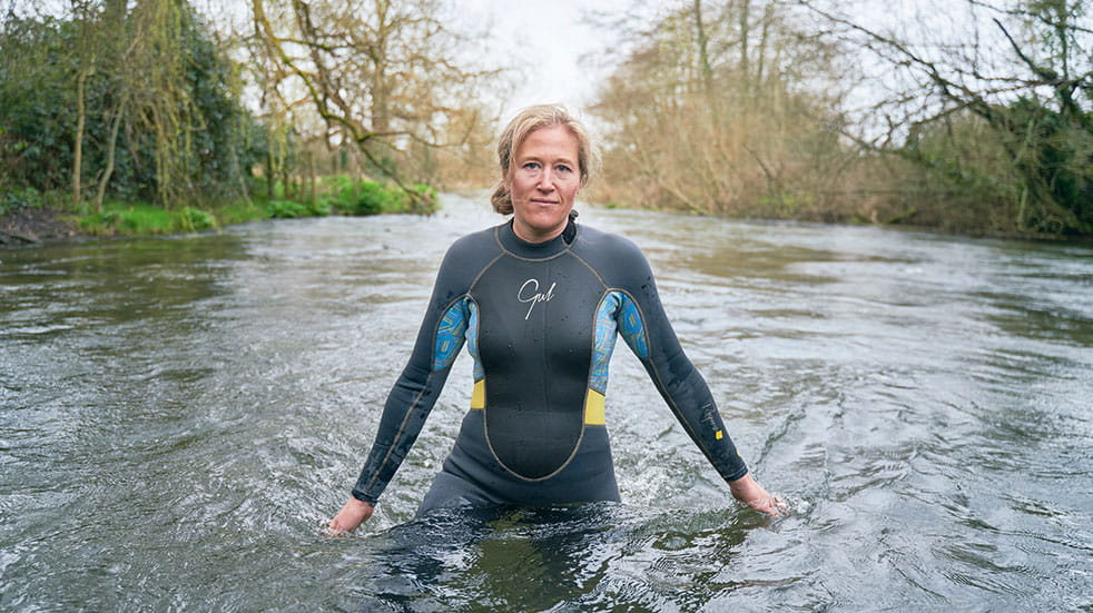 Public sector hobbies woman open air swimming