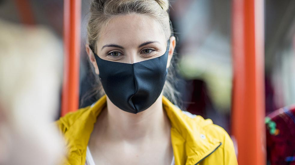 Public transport guidelines woman wearing mask