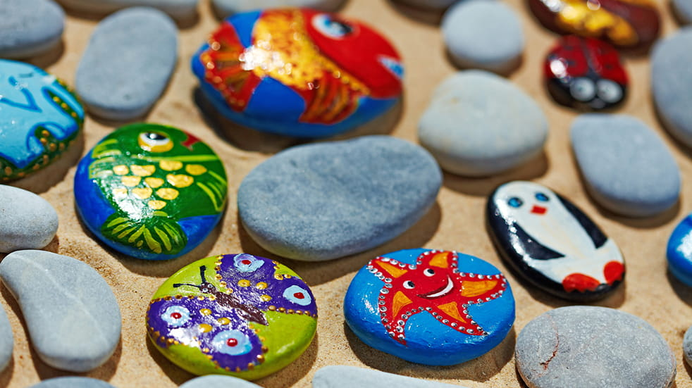 Rainy day activities for kids - paint pebbles