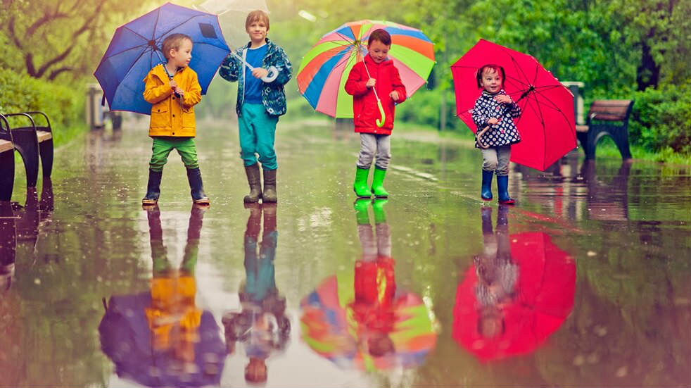 Rainy day activities for kids - splash in puddles