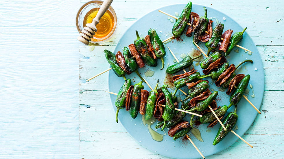 Recipes from around the world; grilled padron peppers