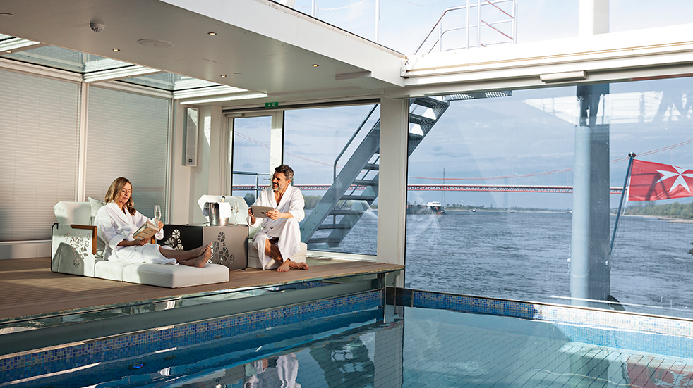 River cruise Europe: relax in the pool onboard with Emerald Waterways