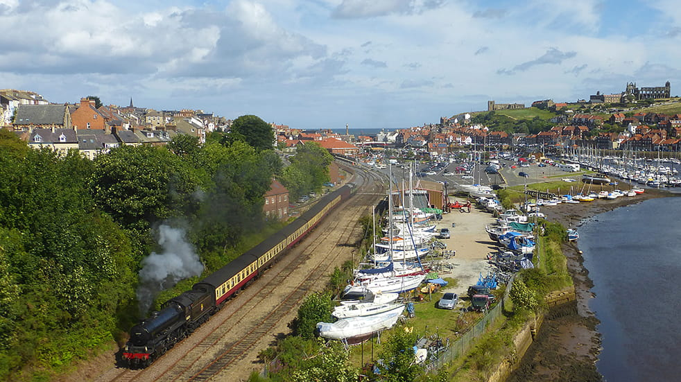 Steam train family day out North Yorkshire Moors Railway Whitby