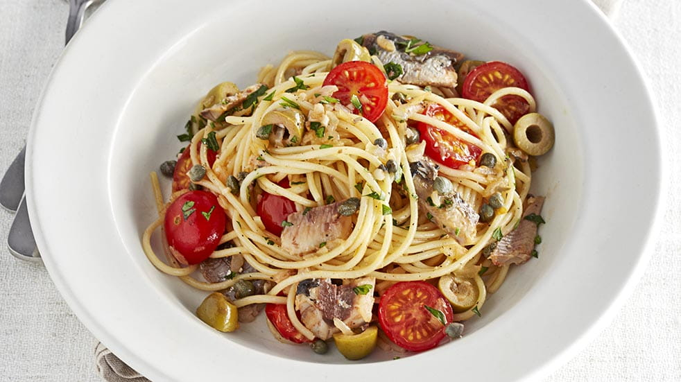 Store cupboard recipes; sardine spaghetti