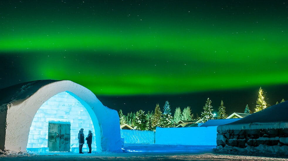 Sweden ice hotel: Northern Lights