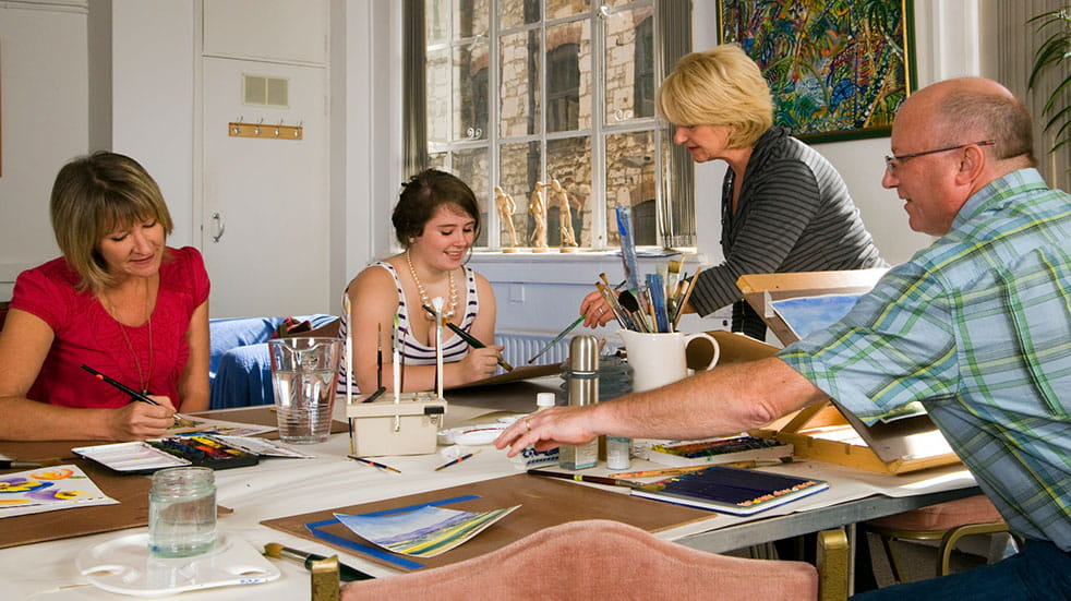 The Big Draw: adults at a painting lesson