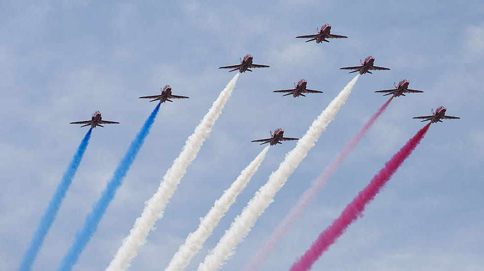 The Red Arrows history red white and blue