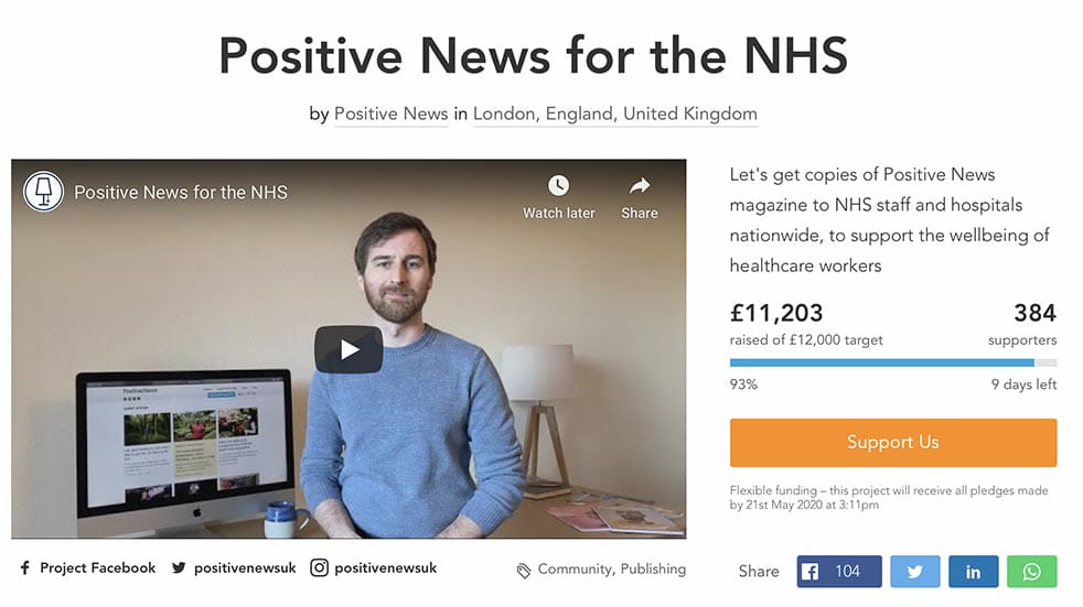 The initiatives helping to boost mental wellbeing among NHS staff; Positive News website