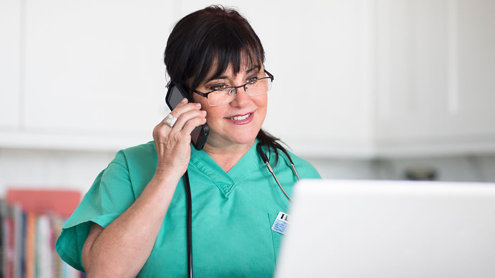 Wellbeing initiatives for key workers nurse on phone