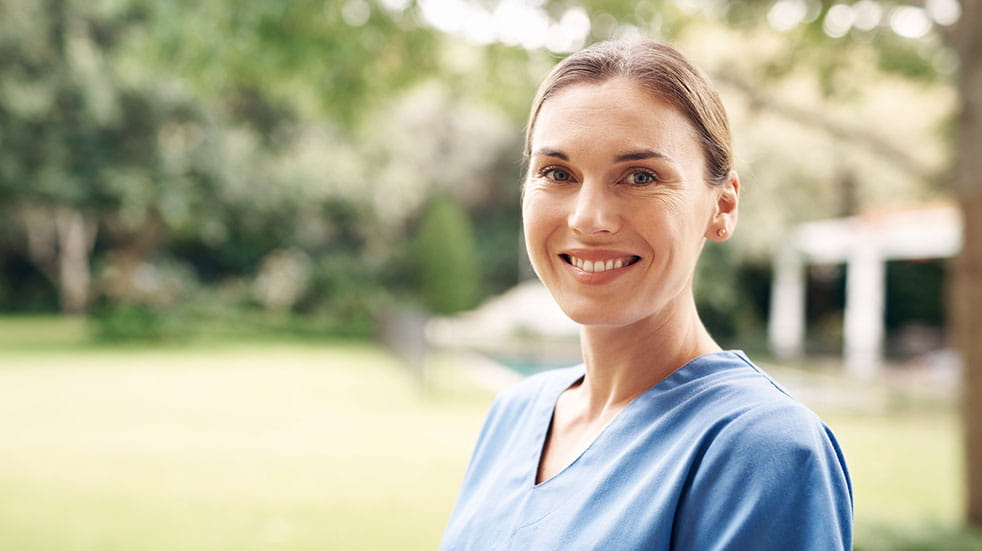 Wellbeing initiatives for key workers nurse smiling