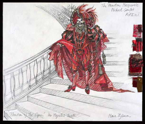 An original sketch for a costume for Phantom of the Opera by Maria Bjornson.