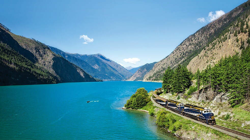 Tropical Sky holiday destinations: the Rocky Mountaineer train passes Seton Lake