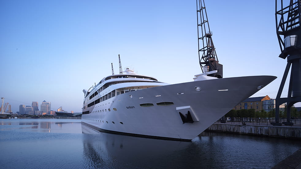 Enjoy a night on Sunborn, a 108-metre yacht moored at the Royal Victoria Dock in London