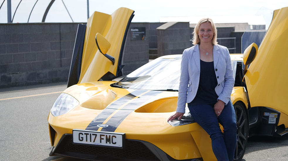 Vicki Butler-Henderson on the Fifth Gear TV show with a Ford GT