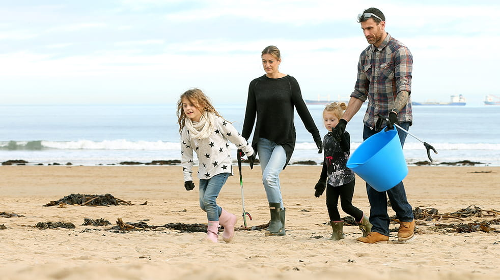 Volunteer for a beach clean with Surfers Against Sewage, family