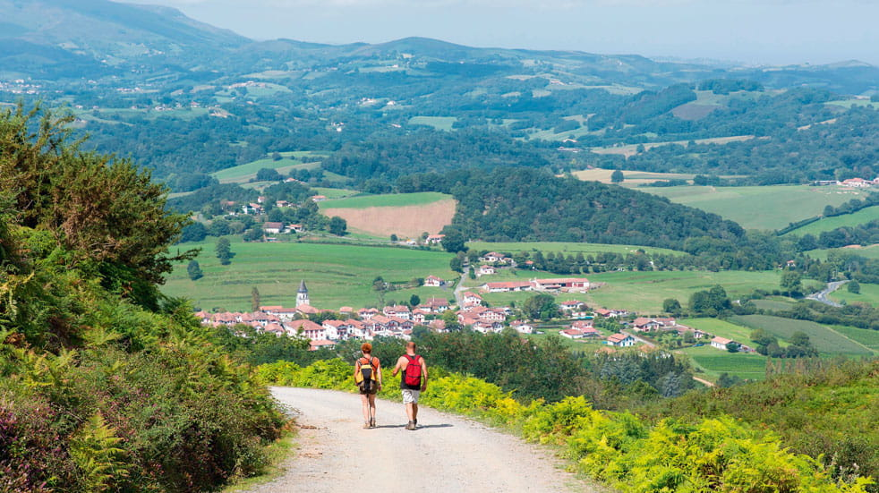 Pilgrims descend towards Ainhoa, France
