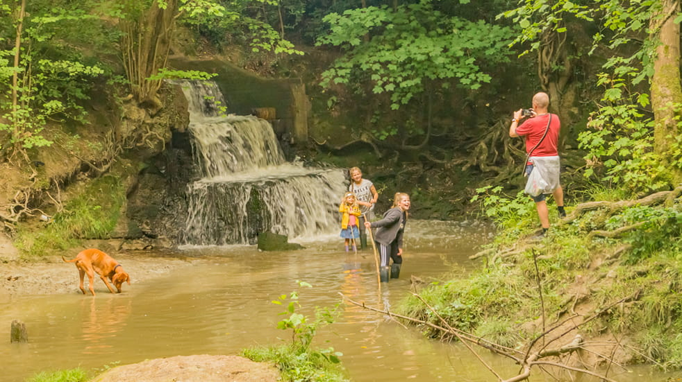 Start walking as a family: family at a waterfall