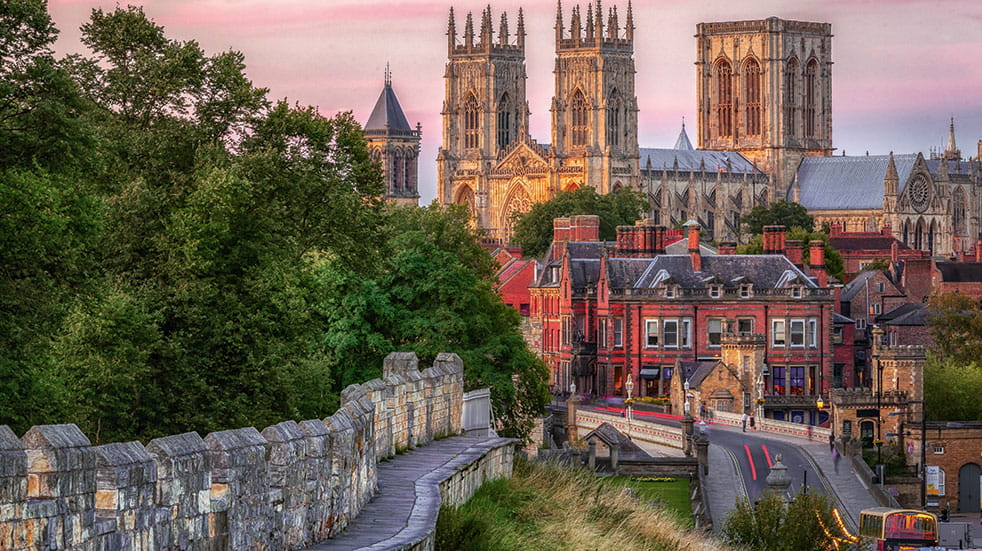 Weekend break in York - the city centre with the St Peter's Minster in the distance
