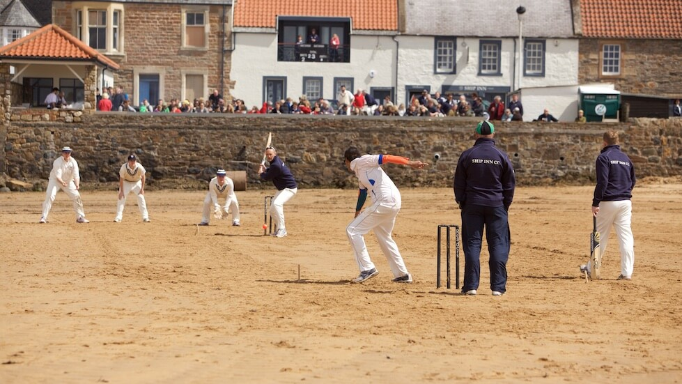 Where to eat by the sea: cricket on the sand in front of the Ship Inn
