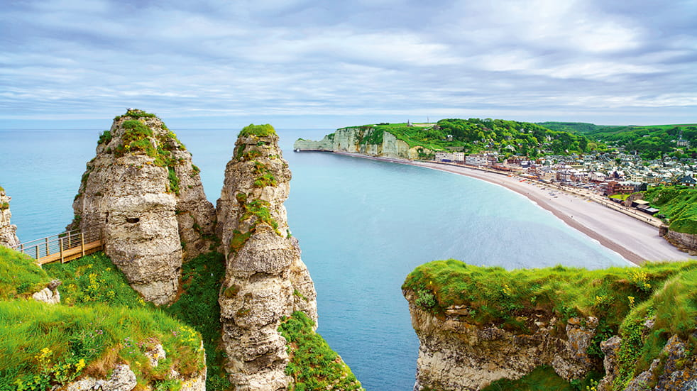 Why choose ferry travel to Europe: Etretat in Normandy, France