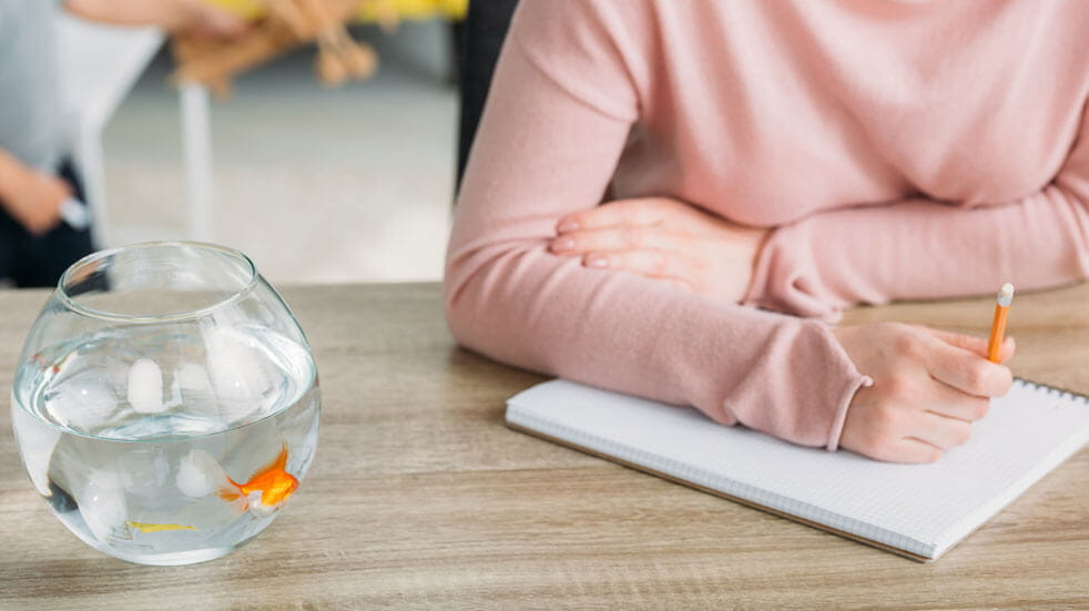 Why having pets at home could change your life; woman with goldfish